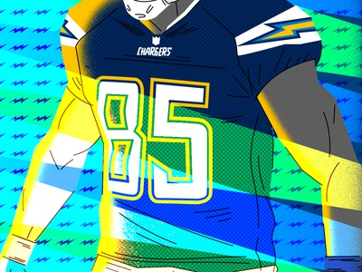 Antonio Gates Los Angeles Chargers pop culture editorial vector illustration illustrator photoshop team sports graphic design football sports nfl