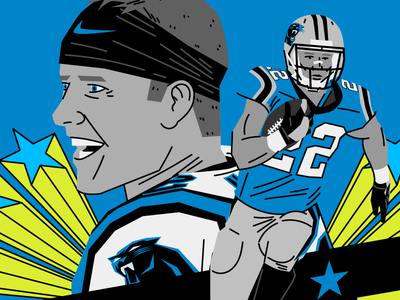 Christian Mccaffrey sports design illustration carolina panthers keep pounding editorial illustration sports football canfl nding