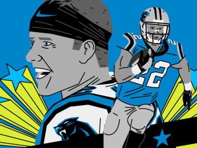 Christian Mccaffrey sports design illustration carolina panthers keep pounding editorial illustration sports football canfl nding