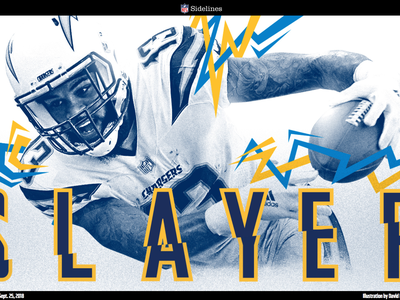 Slayer Keenan Allen graphic  design longform sports design editorial los angeles la chargers vector photoshop characters illustrator nfl football illustration
