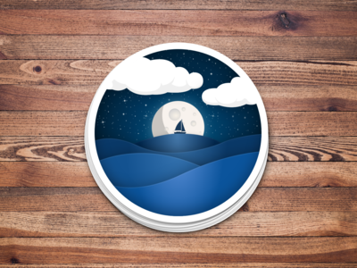 Moonlit Night at Sea -- Sticker