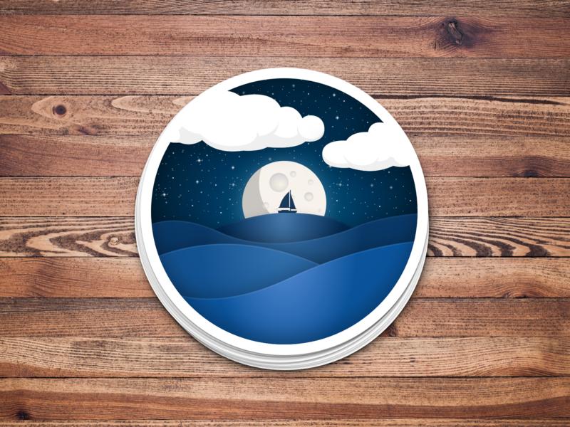 Moonlit Night at Sea -- Sticker night ocean sticker design illustration