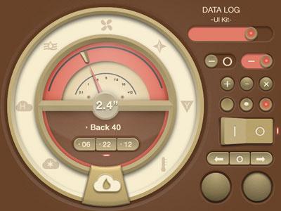 Gui Kit One fireworks ui realistic button gauge vintage slider brown dial personal farm rain gauge iphone web