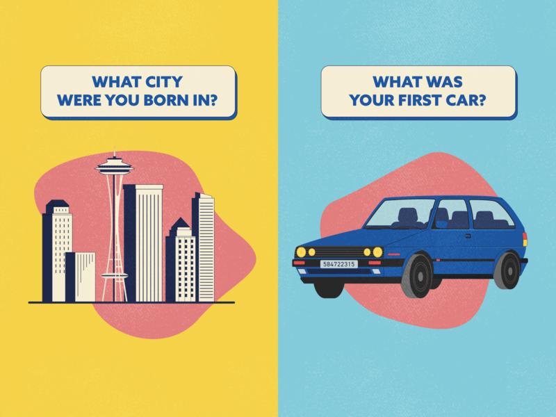 Security Questions volkswagon vintage retro 80s city seattle skyline car question security security questions