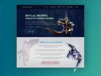 League of Legends Smurf Shopping Landing Page