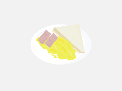 063: Scrambled Eggs, Ham, Toast illustration 100daysofillustration 100days