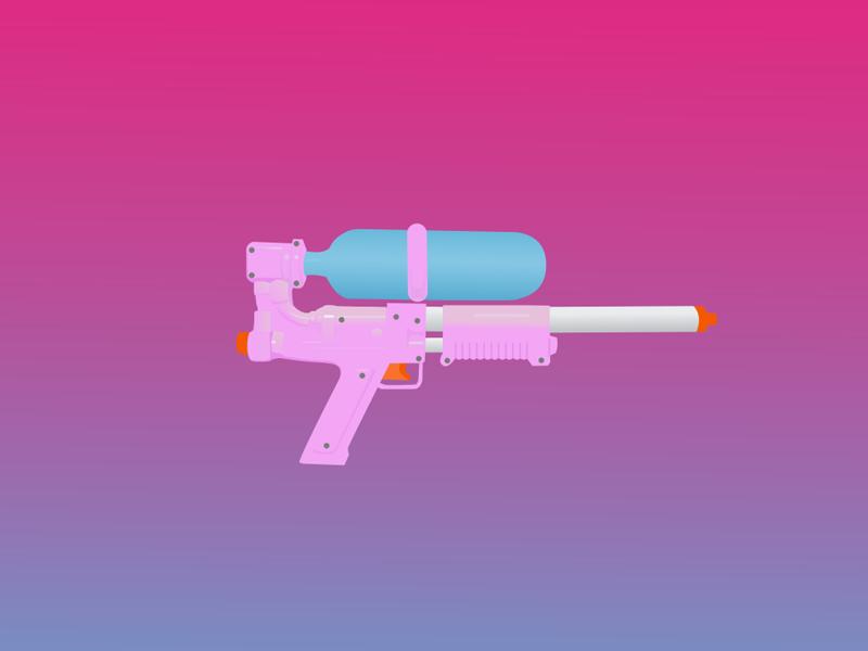 Super Soaker 50 gun water gradient blue pink tony siv super soaker