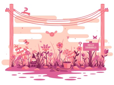 Hello Dribbble! landscape illustration flat design snake plants squirrel garden debut gnome flowers