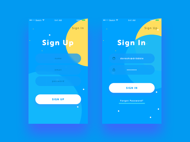 Daily UI #1 - Sign Up / Sign In circles yellow blue cyan in up sign challenge ui