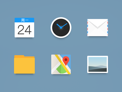 Icon_Newclearface_MX4_Part1 icon clock theme calendar mail folder map gallery photo