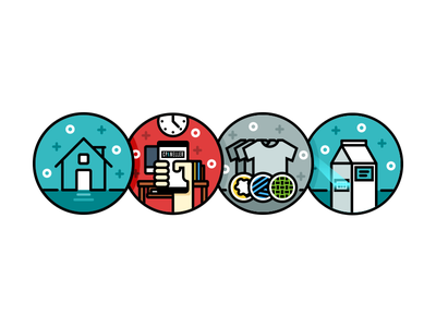 Dribbble Icon  scan milk material clothes cellphone hand clock office home house