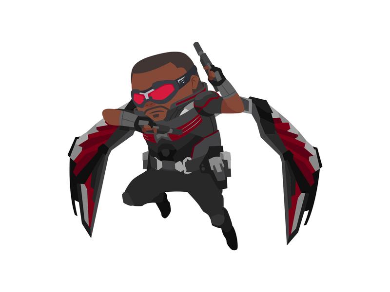 Falcon infinity war heroes character avengers superhero vector hero marvel digital art illustration