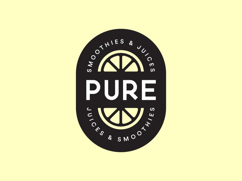 Pure Logo lemon orange yellow logo yellow smoothie juice fruit logo design logo