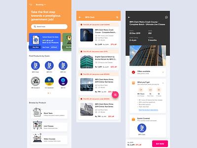 Mobile App for Adda 247 [Government jobs exam preparation App] minimal ui  ux ux ui preparation job android app education education app