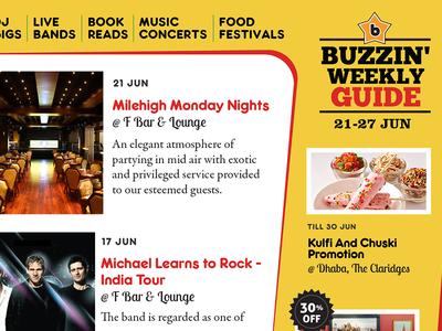 Buzzin' Weekly Guide posters artists event india print flyer buzzintown flier