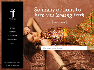 Homepage for Fitnfash shop store ecommerce website web ux ui ethnic fashion home page clothing rental