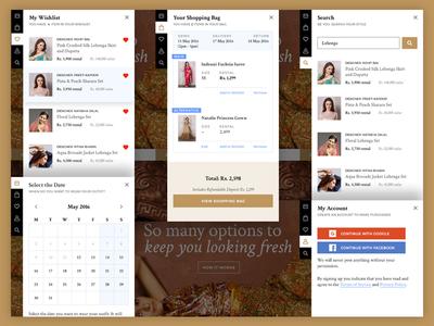 Fitnfash Side menu web shop website my account calendar search shopping bag clothing rental fashion wishlist floating side bar