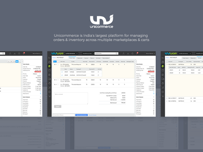 Unicommerce Order Management ux ui marketplaces e-commerce web dashboard activities invoices shipments reconciliation inventory orders