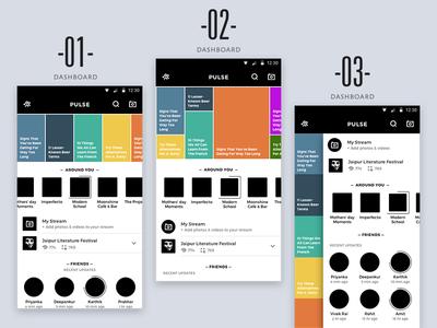 Pulse App Wireframes design app phone camera ux ui android hyperlocal location streams campus streams