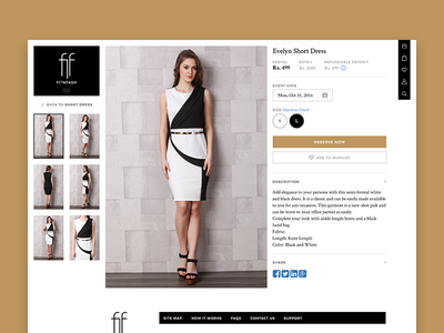 Fitnfash Details Page shop store ecommerce website web ux ui ethnic fashion details page clothing rental