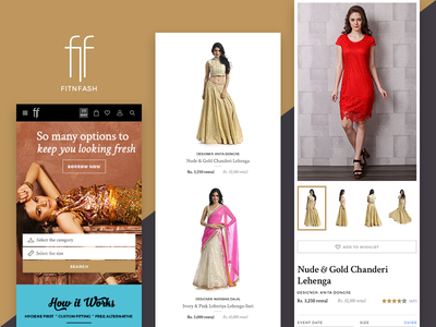 Fitnfash mobile version shop store ecommerce website web ux ui ethnic fashion responsive clothing rental