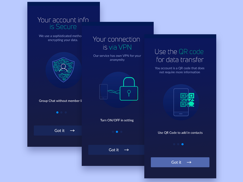 Secure Android Chat App  Onboarding  by Alina Kehl on Dribbble