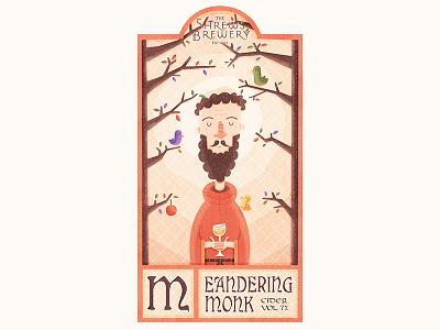 Meandering Monk Illustrated Cider Label brew tree texture sun monk medieval label illustration cider branding birds beer