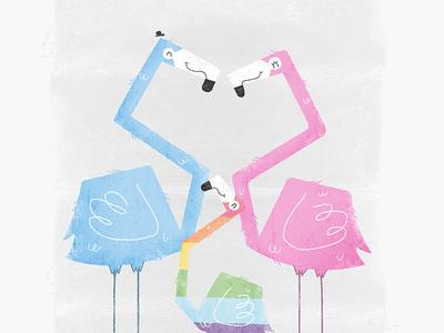 Gay Pride Flamingo Family Dribble