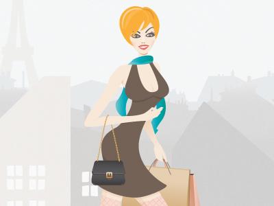Shopping in Paris shopping girl paris bag dress vector illustration woman sexy fashion city