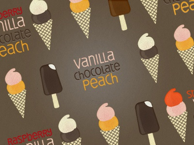 Ice-creams pattern ice-cream chocolate vanilla retro strawberry peach seamless