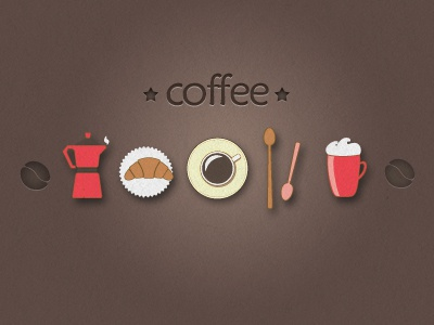 Coffee retro simple coffee pot cup mug cappuccino spoon texture vector