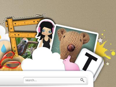 Craftuts 2 header illustration web design collage paper splash typography craft