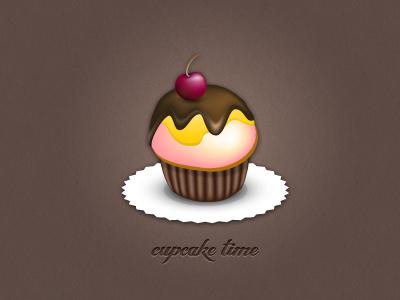 cupcake time illustration cupcake sweet texture food cherry chocolate icing retro