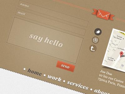 Contact form layout texture retro contact form web design