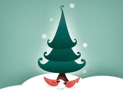 Merry X-Mas christmas birds christmas tree winter card snow grains interactive scrolling