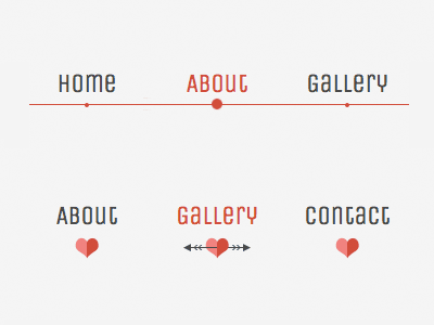 Lavalamp-like sliding menu menu navigation css3 heart arrow