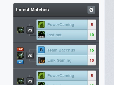 Latest Matches matches blue live lan legal badges ui gaming fun