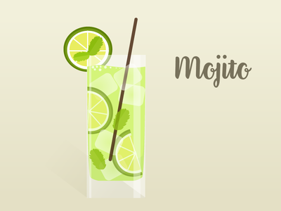 Mojito mint summer drink illustration mojito cocktail