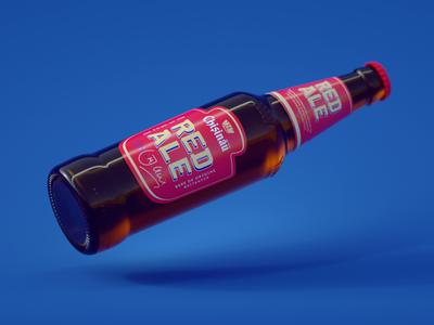 Chisinau RED ALE bottle modeling texturing octane 3d render