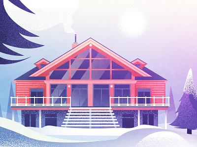 Chalet forest fir-tree snow wood chalet house illustration vector art