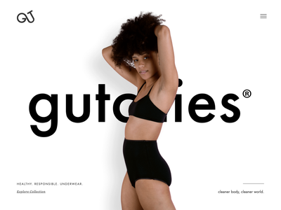 Gutchies® Responsible Underwear Lander ux ui bigcartel shop ecommerce underwear responsible sustainable