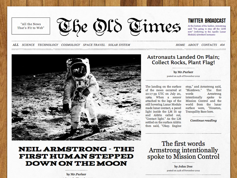 The Old Times Wordpress Theme By Alexey Chistyakov Dribbble