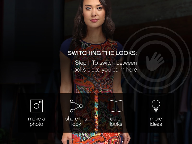 UI Controls Screen user interface ui ux user experience fashion mirror magic magic mirror gesture kinect