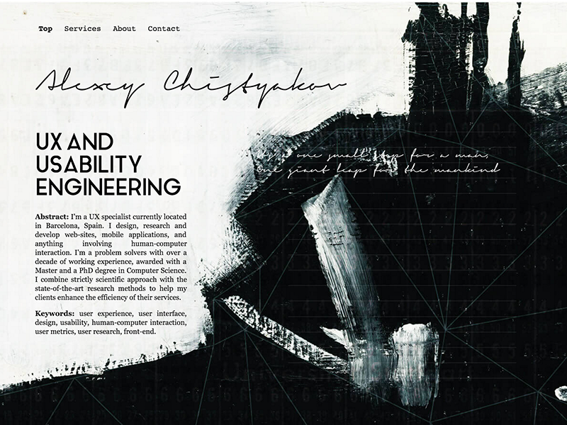 Personal Page Landing Fold landing handwritten geometric impressionism abstract redesign website web