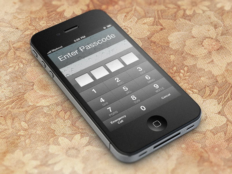 iOS Password Unlock Screen PSD ios pass password unlock gui ui app application free freebie template psd photoshop