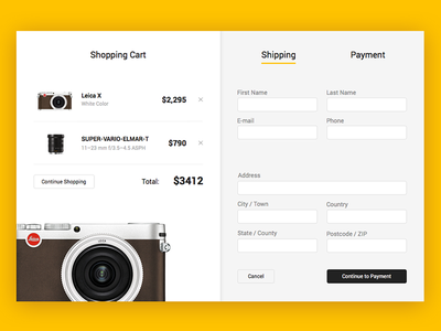 Checkout Screen ecommerce ui cart shopping shipping payment checkout