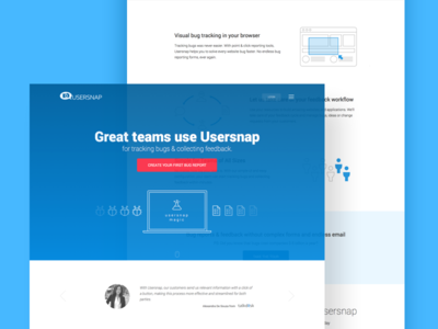 Usersnap New Homepage Concept landing page sass startup bugtracker web ui usersnap homepage minimal clean