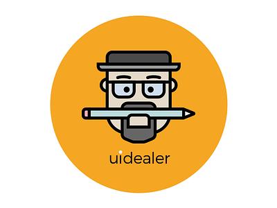 uidealer logo breaking bad walter white illustration vector flat logo character avatar face