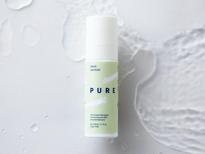 """Pure"" sanitizer package design hands packagedesign packaging package design sanitizer package логотип лого identity logo branding"