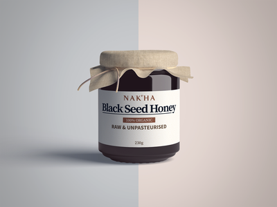 Black Seed Honey Label packaging design labeldesign minimal organic